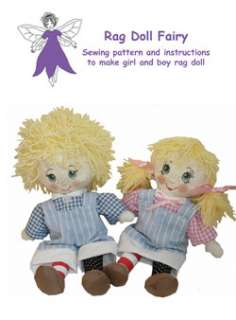 and girl twins rag doll sewing pattern with adorable transfer faces