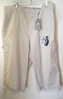 Vanderbilt Beige Twill Capri Cargo Capri Pants 24W 3X Fun Casual NEW