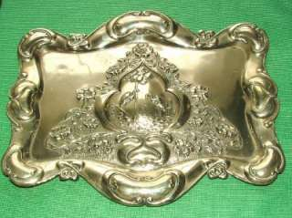1900 WMF ? Art Nouveau Stork Flowers Silver Plated Tray