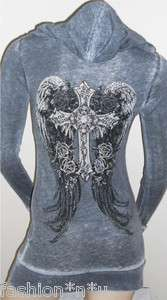 CRYSTAL CROSS ROSE ANGEL WINGS TATTOO BURN OUT HOODIE T SHIRT & ED