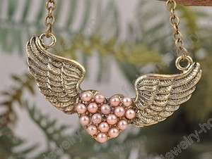 Fashion Retro Bronze Heart Wing Pink Pearl Charming Necklace Pendant