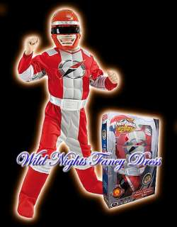 FANCY DRESS ~ BOYS RED RANGER MUSCLE CHEST POWER RANGERS MEDIUM AGE 5