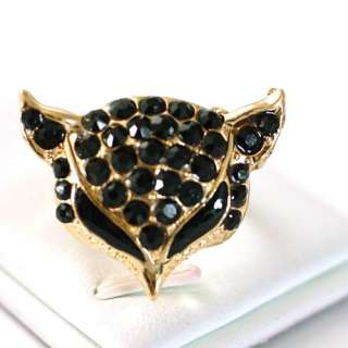 r6064 Lady Black Fox Head Gemstone Gold plating Diamante Zircon