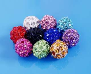 Wholesale Lot 20pcs 10mm Disco Ball Crystal Beads Fit Shamballa