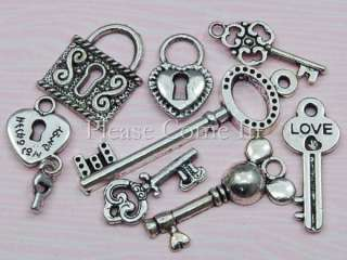 16 pieces of silver toned zinc alloy charm pendants in 8 designs as