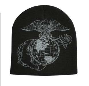 NEW BLACK EAGLE GLOBE AND ANCHOR BEANIE SKULL CAP HAT