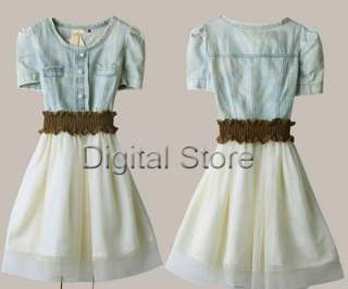 Women Vintage Jean Denim Party Dress Retro Girl Blue Top White Skirt