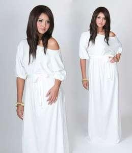 Womens One Shoulder Cocktail White Long Maxi Dress L XL