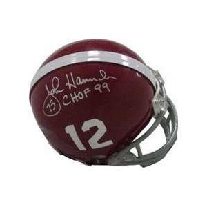 John Hannah Autographed Alabama Crimson Tide Mini Football Helmet with