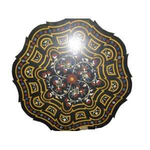 Detail Inlaid Black Marble Floral Carved Table Top