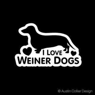 LOVE WEINER DOGS Vinyl Decal Car Sticker   Dachshund