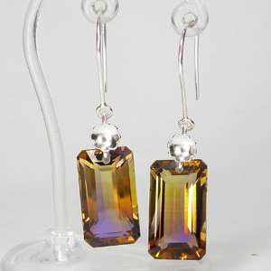 29.82 CT SILVER925 EARRINGS EMERALD CUT BI COLOR AMETRINE