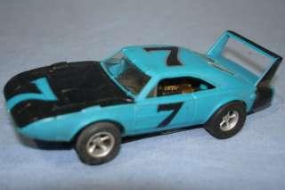 Aurora AFX Slot Car Racing Blue Dodge Daytona Charger #7 Hood Roof
