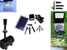 8W Solar Panel Water Pump Batt. Timer LEDs Light Combo