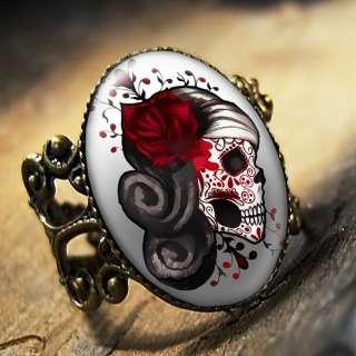 Day of the Dead Muertos Tattoo Skull Punk Adjustable Antique Bronze