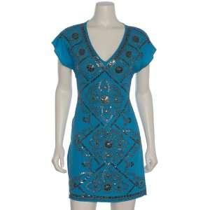 Hale Bob Womens Beaded Charmeuse Dress