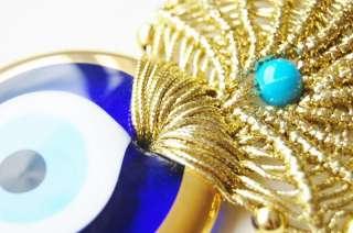 Golden Macrame Wall Hanging Amulet Wall Decor Handmade Evil Eye Bead