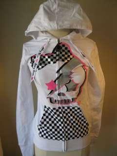 Abbey Dawn white hoodie checker bow long sleeve 189