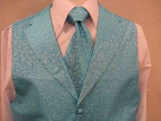 Mens Suit Tuxedo Dress Vest Necktie Bowtie Hanky Set Turquoise