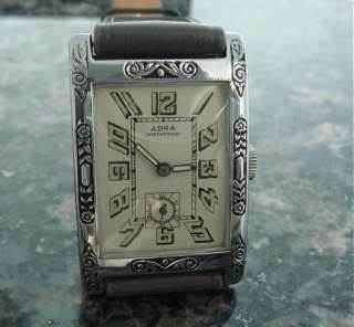 Old Antique Mint HUGE Oversized DECO Abra Wrist Watch SERVICED