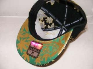 FITTED FLAT BILL FLATBILL MARIJUANA 420 POT HAT CAP SMALL BLACK