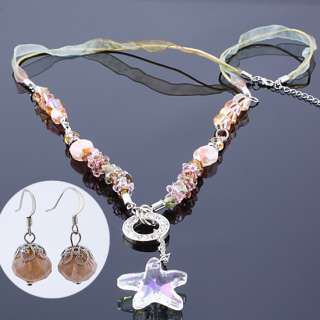 35% OFF JEWELRY SET PINK AMETHYST NECKLACE EARRINGS GOLD PLATED FOR