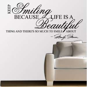 Marilyn Monroe Keep Smiling   WALL STICKER DECAL QUOTE ART MURAL Large
