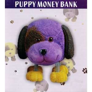 Ceramic Novelty Puppy Money Bank With Spring Legs (Purple