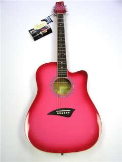 PRO QUALITY GIRLS PINK ACOUSTIC 6 STRING CUTAWAY GUITAR