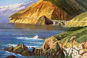 Orig. Oil Painting A Bridge in Big Sur 24 x 36 in.