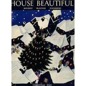 1929 Cover House Beautiful Christmas Tree Neighborhood