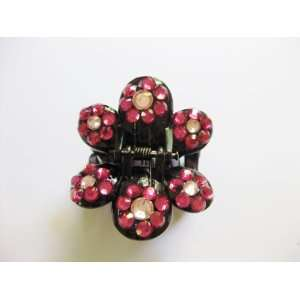 Hot Pink Rhinestone Flower Plastic Hair Claws Beauty
