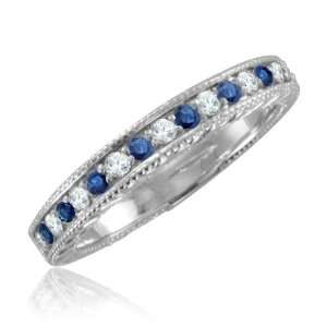 Sapphire Diamond Ring 18k White Gold Wedding Band, Vintage Inspired (G