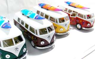 Lot of 4 Color 1962 VW Volkswagen Bus VW 132 Groovy with Surfboard