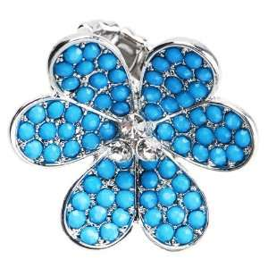 Turquoise Six Petal Crystal Flower Stretch Ring Jewelry