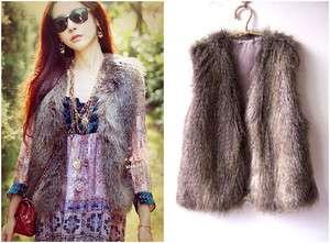 New Fashion Women Vintage Celeb Faux Fur Vest one size