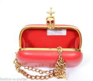 ALEXANDER McQUEEN DAGGER SKULL MILITARY CHAIN RED LEATHER CLUTCH BAG
