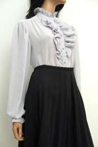 Secretary Shirt Blouse M L High Collar Tuxedo Victorian Ruffled