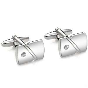 Elegant Mens Cufflinks Stainless Steel CZ Lining Cuff Links in a Nice