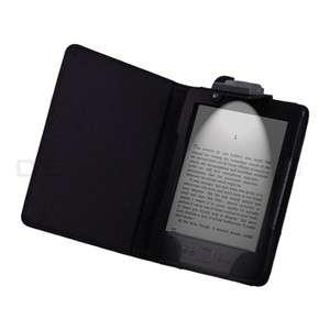 Kindle 4 4TH 4 Gen LED Light Lighted Leather Case Cover Black