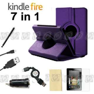 Kindle Fire Rotating Leather Case/Stylus/Car Charger/USB Cable