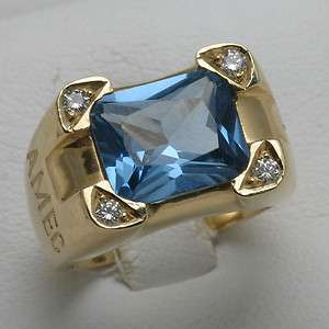 14k gold Blue Topaz Diamond Mens Ring 5 carat AME diamond Cross