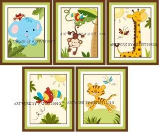 jungle safari animals for fisher price bedding nursery art 5x7