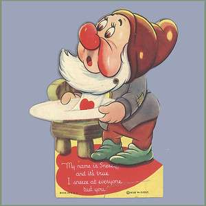 Valentines Day Card 1930s WALT DISNEY Sneezy MECHANICAL VALENTINE