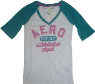 Womens AEROPOSTALE V Neck Aero Graphic T Shirt Top Tee NWT