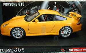 Hot Wheels Porsche GT3 Yellow Car Die Cast 118 NEW