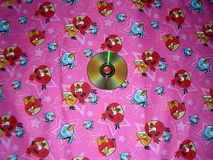 NEW 2 YARDS ~RARE SMALL ANGRYBIRD STAR STARS PINK FABRIC
