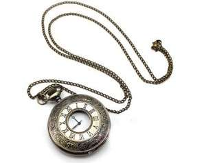 Antiqued vintage Retro Pocket Watch craft locket pendant long chain