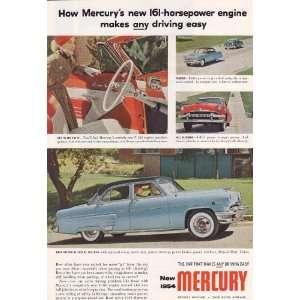 1954 Ad Ford Mercury Blue Sun Valley Original Vintage Car