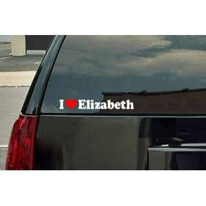 I Love Elizabeth Vinyl Decal   White with a red heart